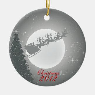 Santa & Reindeer Christmas Holiday Ornament. Round Ceramic Decoration