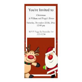 Santa & Reindeer Christmas Holiday Rack Card Design