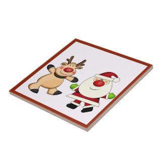 Santa & Reindeer Christmas Holiday Small Square Tile