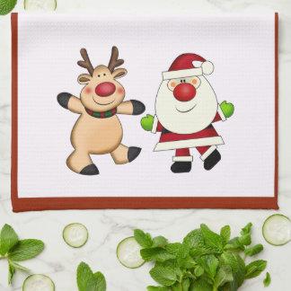 Santa & Reindeer Christmas Holiday Tea Towel