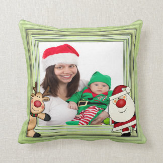 Santa & Reindeer Christmas Photo Template Cushions