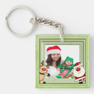 Santa & Reindeer Christmas Photo Template Key Ring