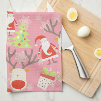 Santa, Reindeer, Christmas Tree and Potted Plant Tea Towel