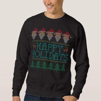 Santa Reindeer Christmas Tree Happy Holidays Sweatshirt