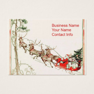 Santa Reindeer in Snow Business Card