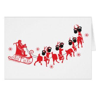 Santa & Reindeer Kettlebell Merry Christmas Card