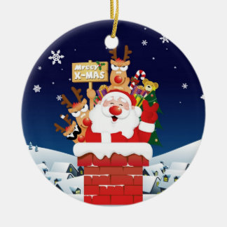 "Santa & Reindeer""mreey x-mas"" Christmas Ornament"