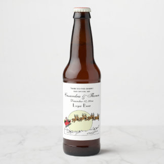 Santa Reindeer Over Snow Covered Town Lt Moon Beer Bottle Label