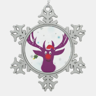 Santa Reindeer Pewter Snowflake Decoration