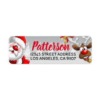 Santa & Reindeer Return Address Labels