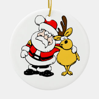 Santa & Reindeer Round Ceramic Decoration