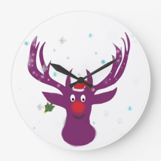 Santa Reindeer Rudolf Round (Large) Wall Clock