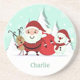 Santa, Reindeer & Snowman custom name coaster