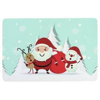 Santa, Reindeer & Snowman floor mats