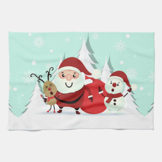 Santa, Reindeer & Snowman kitchen towel
