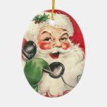 Santa Retro Vintage Christmas Tree Ornament
