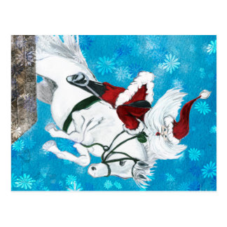 Santa Rides a Horse - Postcard