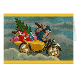 Santa Rides a Motorcycle - Christmas Card
