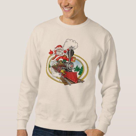 Santa Rides a Steam Locomotive Sweatshirt
