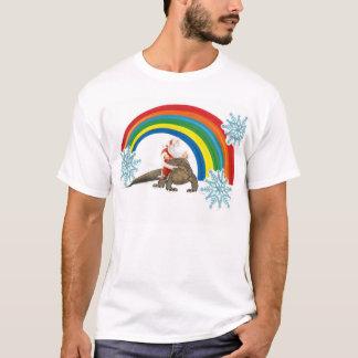 Santa riding a komodo dragon through a rainbow T-Shirt