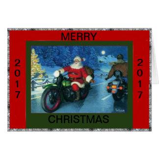 SANTA RIDING A MOTORCYCLE CHRISTMAS CARD
