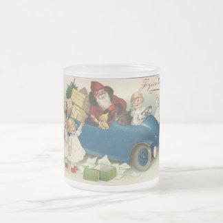 Santa Riding in a Car - Joyeaux Noel 10 Oz Frosted Glass Coffee Mug