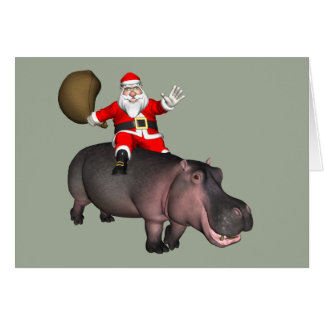 Santa Riding On Hippo Card