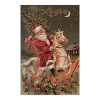 santa riding rocking horse vintage art poster