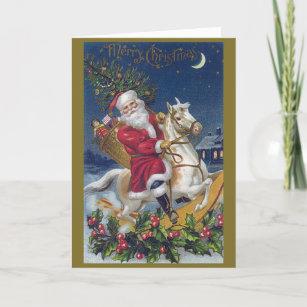 Santa Rocking Horse Christmas Card
