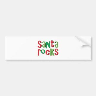 Santa Rocks Red and Green Christmas Bumper Sticker