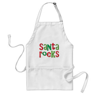 Santa Rocks Red and Green Christmas Standard Apron