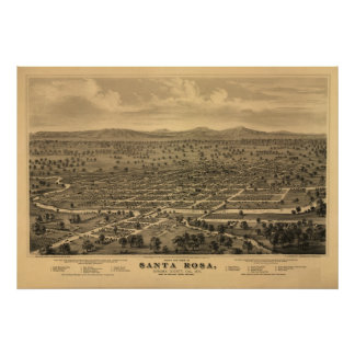 Santa Rosa California 1876 Antique Panoramic Map Poster