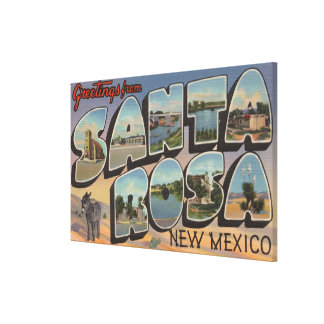 Santa Rosa, New Mexico - Large Letter Scenes Stretched Canvas Print