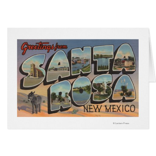 Santa Rosa, New Mexico - Large Letter Scenes Greeting Cards