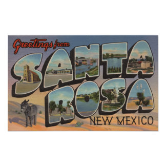 Santa Rosa, New Mexico - Large Letter Scenes Print