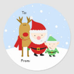 Santa, Rudolph and Elf Christmas Tag, To: From: Round Sticker