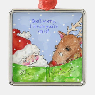 santa, rudolph and the list! Silver-Colored square decoration