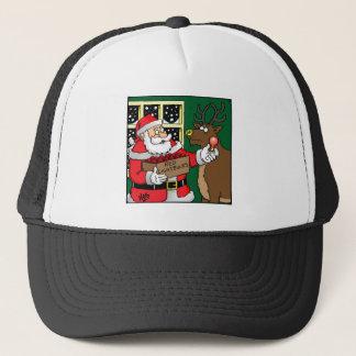 Santa, Rudolph, Light bulb. Trucker Hat