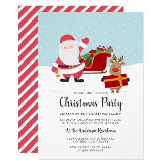 Santa, Rudolph & Sled Christmas Party Invitations