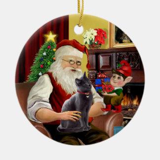 Santa - Russian Blue cat Christmas Ornament