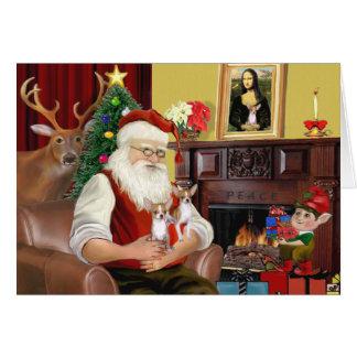 Santa s 2 Chihuahuas Greeting Card
