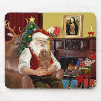 Santa s Apricot Toy Min Poodle Mouse Pad