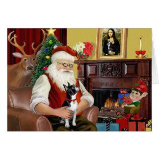 Santa s Boston Terrier Greeting Card