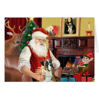 Santa s Boxer natural ears Greeting Card