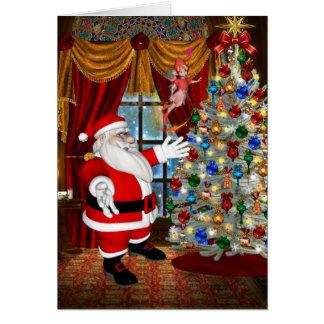 Santa`s Christmas Tree Greeting Card