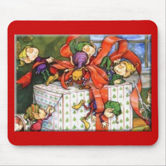 Santa s Elves Wrapping Gift Mouse Pad