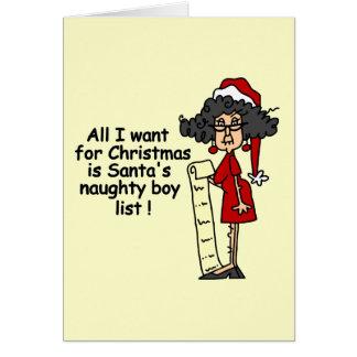 Santa s Naughty Boy List Greeting Card