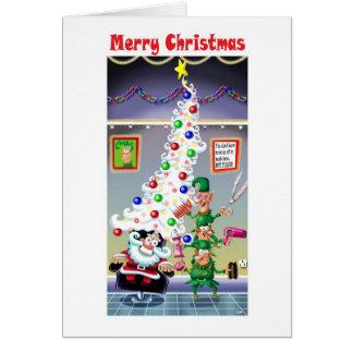 Santa s New Hair Doo Greeting Cards