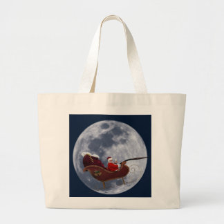 Santa s Sleigh Flying by the Moon Canvas Bags