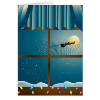 Santa s Sleigh in Moonlight Card
